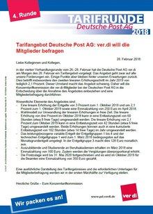 Verhandlungsrunde vom 26.-28. Februar hat die Deutsche Post AG ver.diam Morgen des 28. Februar ein Tarifangebot vorgelegt.