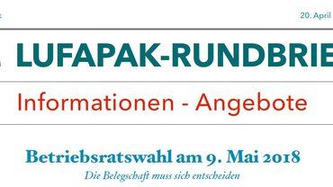 Lufapak-Rundbrief, 18.04.2018