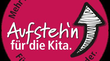 Logo: Mehr Zeit und Personal. Aufsteh'n für die Kita. Für uns. Für die Kinder.