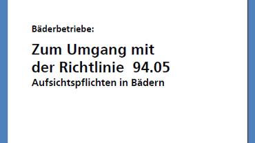 Titelblatt der Broschüre Umgang mit der Richtline 94.05 in Bädern