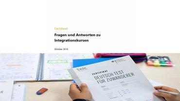 Infografik vom MEDIENDIENST zu Infopaier: Fragen und Antworten zu den Integrationskursen