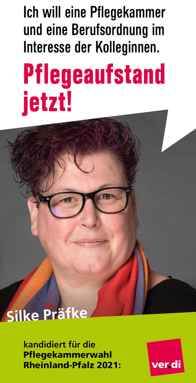 """Silke Präfke führt die Liste """"ver.di am Mittelrhein"""" an. Sie ist Krankenschwester seit 1988 und arbeitet im Bundeswehrzentralkrankenhaus in Koblenz. Dort ist sie Stellvertretende Personalratsvorsitzende. Sie ist Mitglied der Vertreterversammlung der Landespflegekammer und bei ver.di Präsidentin des Pflegebeirates."""