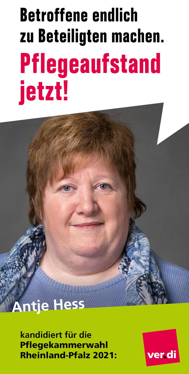 Antje Hess ist Krankenschwester seit 1992 und arbeitet im DRK-Krankenhaus in Altenkirchen-Hachenburg und ist dort Betriebsrätin.