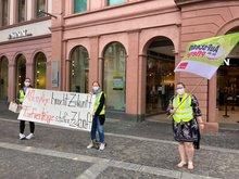 Während der Kundgebung in Mainz